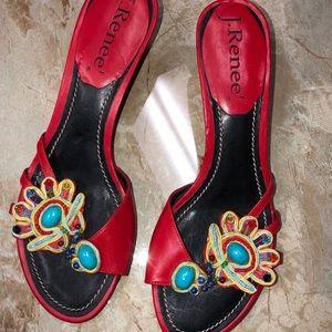 J Renee Roma Sandals w/Kitten Heel Sz 7.5
